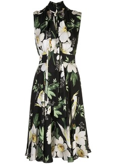 Carolina Herrera floral print bow tie dress