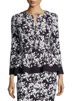 Carolina Herrera Floral-Print Bracelet-Sleeve Jacket  Navy/White