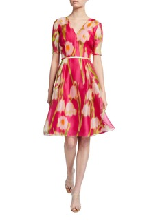 Carolina Herrera Floral Print Chiffon 1/2-Sleeve Dress