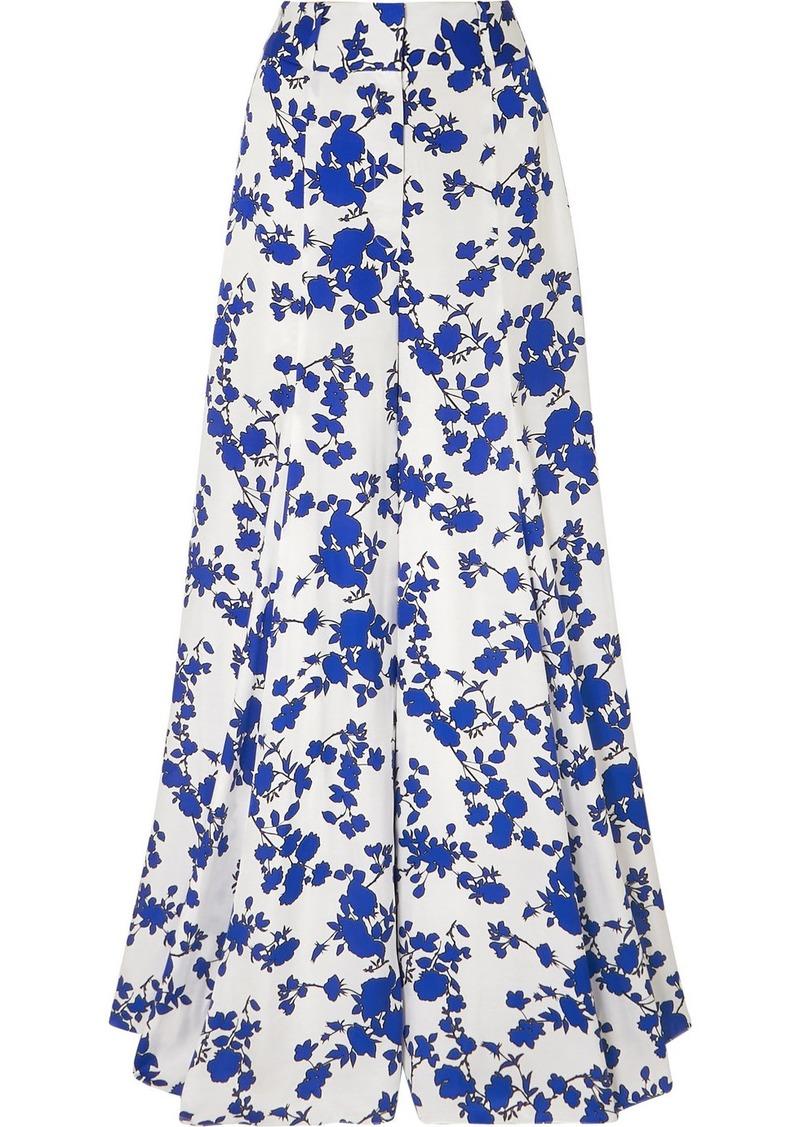 Carolina Herrera Floral-print Satin Wide-leg Pants