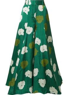 Carolina Herrera Floral-print Textured-satin Wide-leg Pants