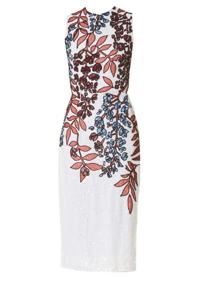 Carolina Herrera Floral Sequin Silk Sheath Dress
