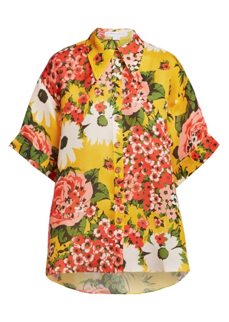 Carolina Herrera Floral Silk Collared Shirt