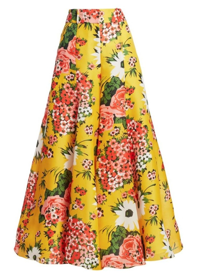 Carolina Herrera Floral Silk Palazzo Pants