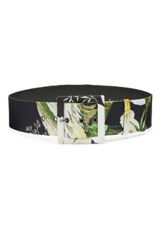 Carolina Herrera Floral Square Buckle Belt