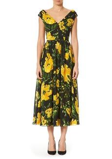 Carolina Herrera Floral V-Neck A-Line Midi Dress