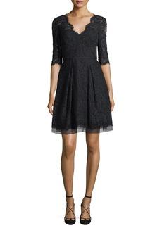 Carolina Herrera Half-Sleeve V-Neck Lace Cocktail Dress  Black