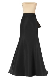 Carolina Herrera Icon Waist-Knot Silk Trumpet Skirt