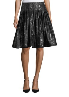 Carolina Herrera Jacquard Metallic Pleated Party Skirt