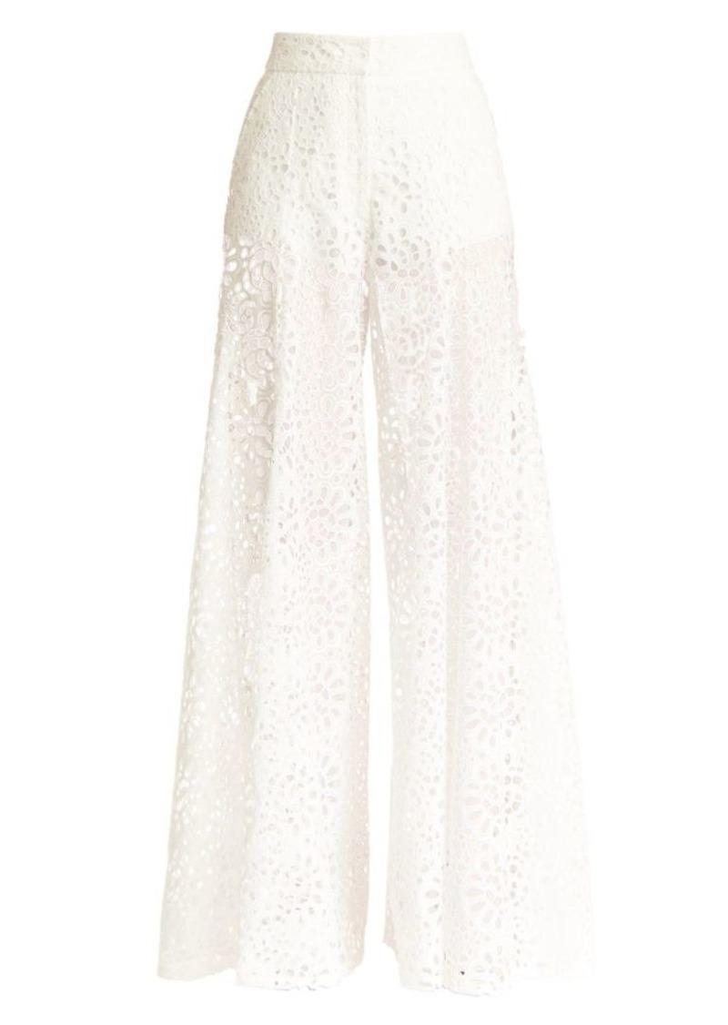 Carolina Herrera Lace Eyelet Extra Wide-Leg Pants