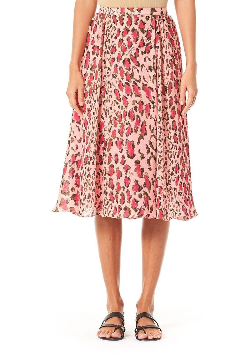 Carolina Herrera Leopard-Print Gathered Midi Skirt