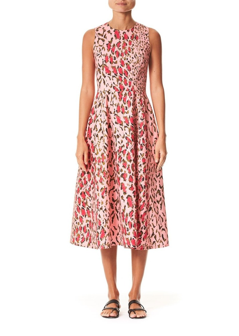Carolina Herrera Leopard Print Poplin Midi Dress