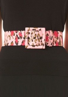 Carolina Herrera Leopard Print Square Buckle Belt