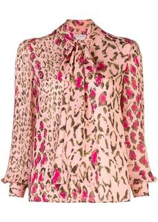 Carolina Herrera leopard print tie blouse