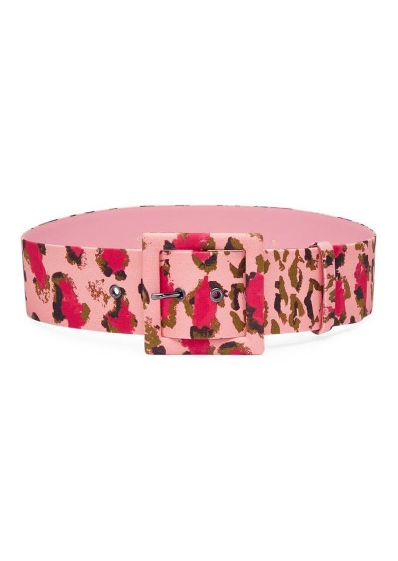 Carolina Herrera Leopard Square Buckle Belt