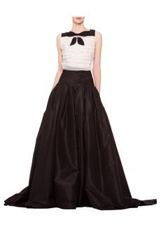 Carolina Herrera Long A-Line Silk Skirt  Black