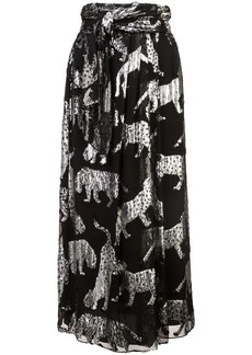 Carolina Herrera metallic print midi skirt