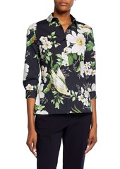 Carolina Herrera Midnight Floral-Print 3/4-Sleeve Shirt