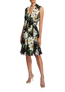 Carolina Herrera Midnight Floral Tie-Neck Dress