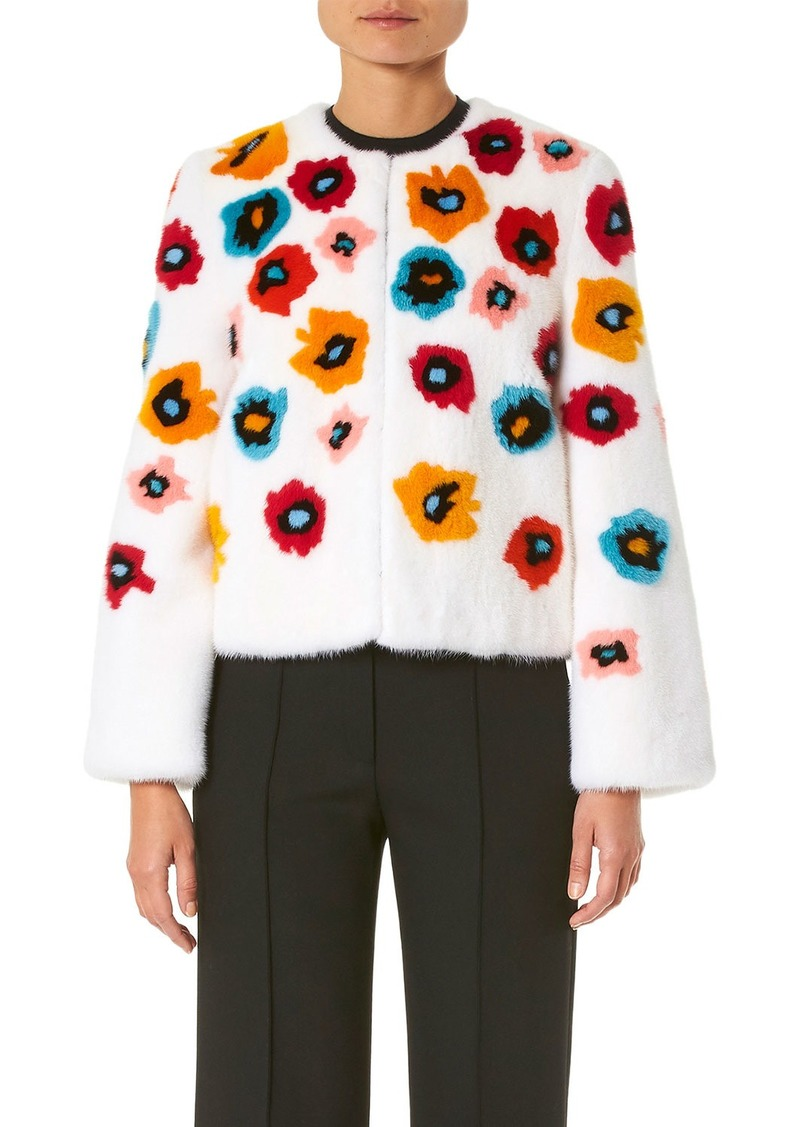 Carolina Herrera Mink-Fur Flower Intarsia Jacket