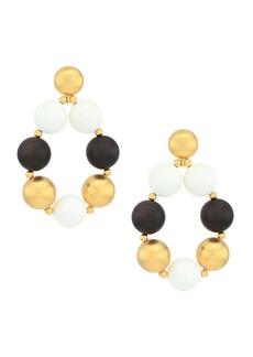 Carolina Herrera Mixed-Media Ball Hoop Earrings