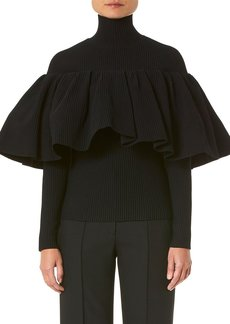 Carolina Herrera Mock-Neck Knit Top w/ Ruffle Overlay