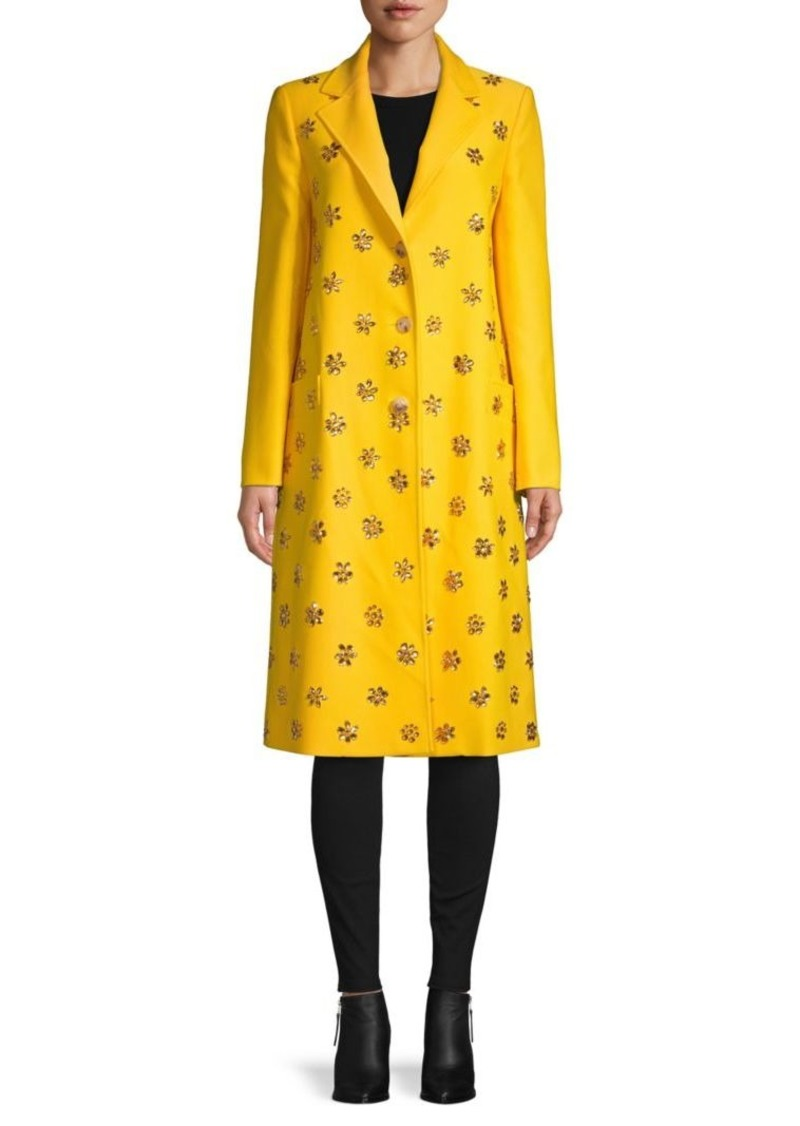 Carolina Herrera Notch Lapel Embellished Coat