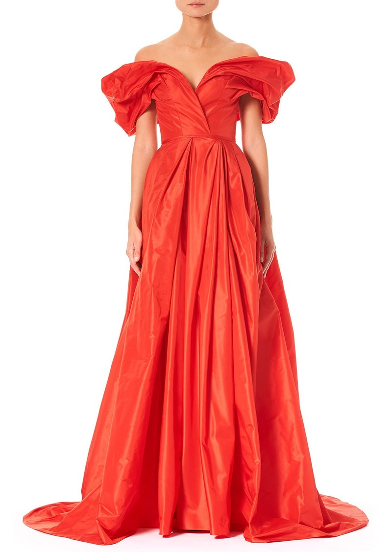 Carolina Herrera Off-the-Shoulder Ruched-Sleeve Full Evening Gown ...