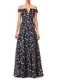 Carolina Herrera Off-the-Shoulder V-Neck Evening Gown
