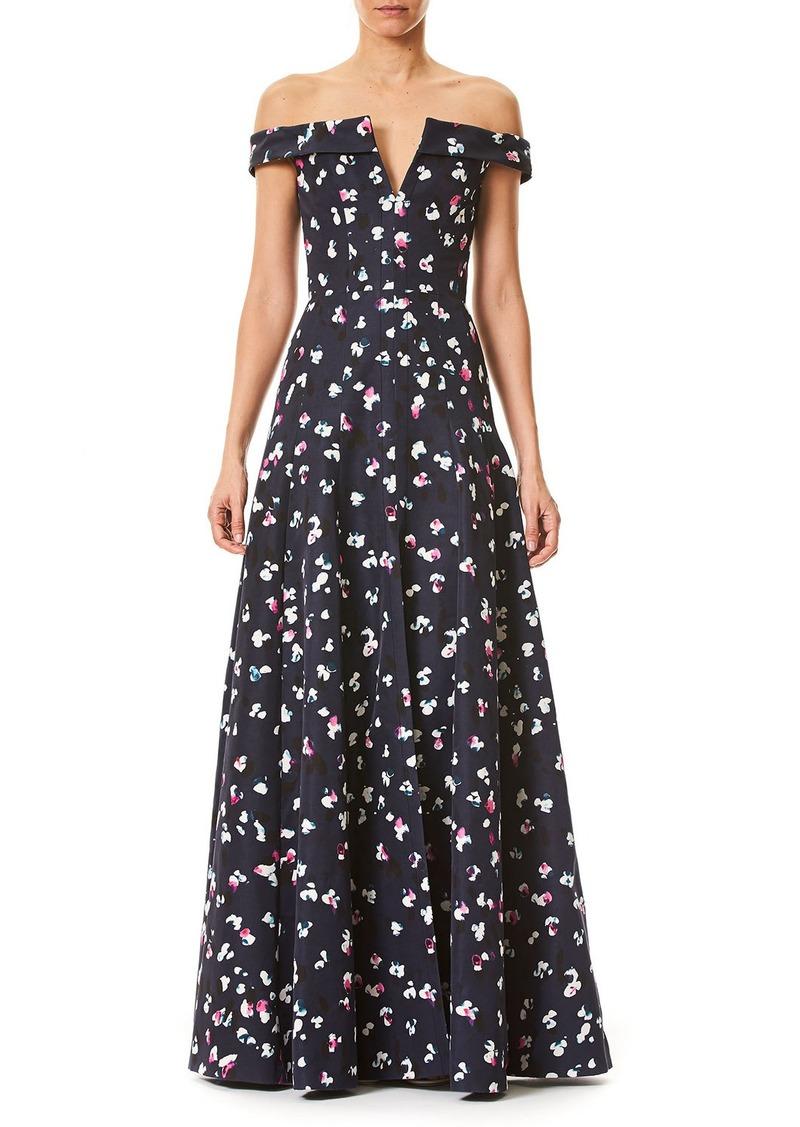 Carolina Herrera Off-the-Shoulder V-Neck Evening Gown | Dresses