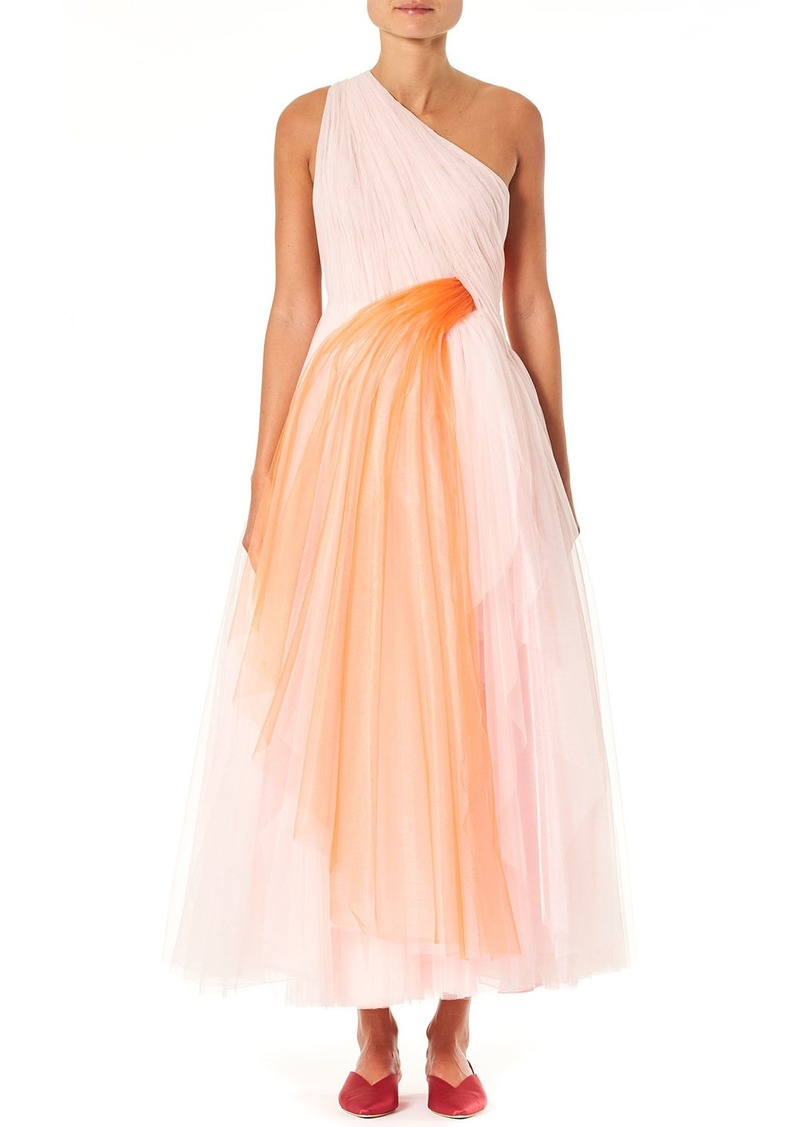Carolina Herrera One-Shoulder Draped Tulle Dress