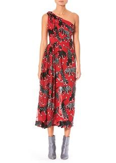 Carolina Herrera One-Shoulder Wildcat-Print Cocktail Dress