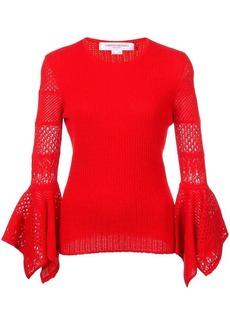Carolina Herrera open-knit sleeve jumper