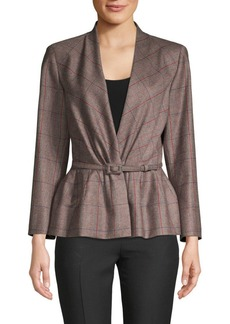 Carolina Herrera Plaid Belted Wool Jacket