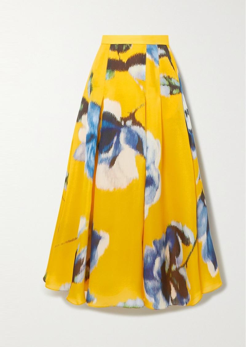 Carolina Herrera Pleated Floral-print Silk Maxi Skirt