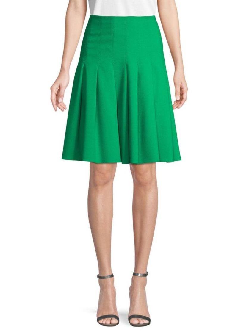 Carolina Herrera Pleated Wool Skirt