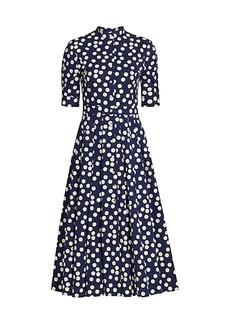 Carolina Herrera Polka Dot Belted Elbow-Sleeve Shirtdress