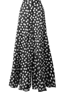 Carolina Herrera Polka-dot Silk Crepe De Chine Wide-leg Pants