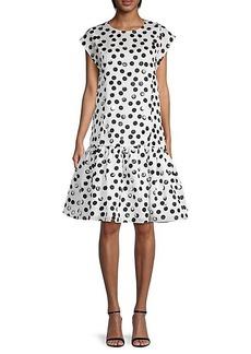 Carolina Herrera Polka Dot Silk Drop-Waist Dress