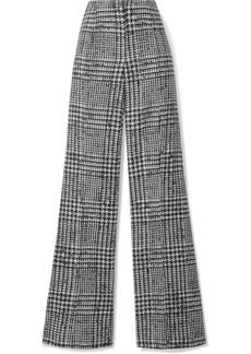 Carolina Herrera Prince Of Wales Checked Wool And Silk-blend Wide-leg Pants
