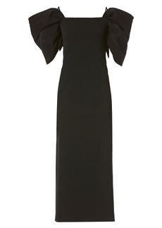 Carolina Herrera Puff-Sleeve Cold-Shoulder Wool-Blend Sheath Dress