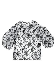 Carolina Herrera Puff-Sleeve Floral Lasercut Top