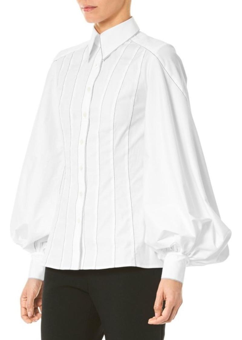 Puff-Sleeve Stitched Shirt