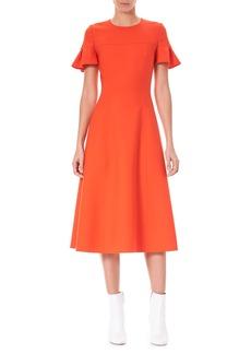 Carolina Herrera Ruffle-Sleeve Fit-and-Flare Wool-Blend Midi Dress