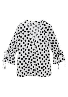 Carolina Herrera Ruffle-Sleeve Polka Dot Blouse