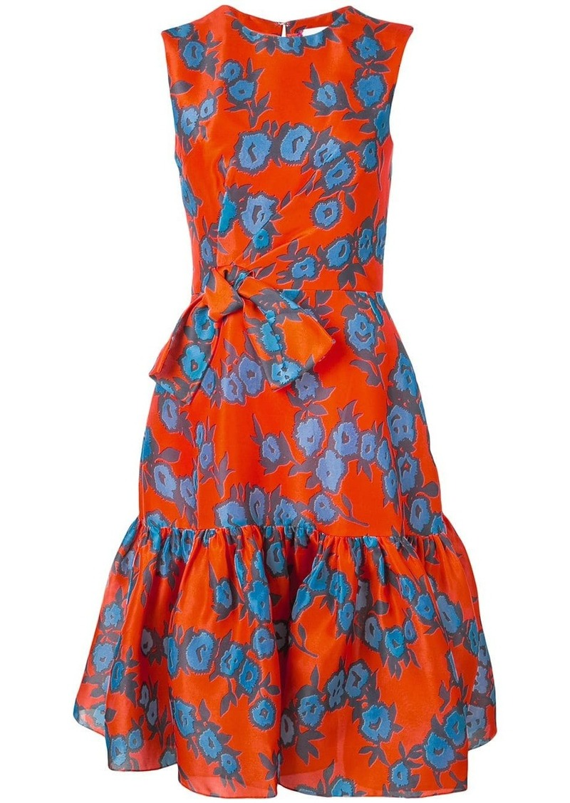 Carolina Herrera ruffled floral print silk dress