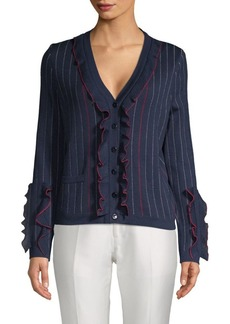 Carolina Herrera Ruffled Wool Button Cardigan