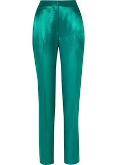 Carolina Herrera Satin-twill Straight-leg Pants