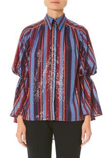 Carolina Herrera Sequined Puff-Sleeve Button Front Shirt