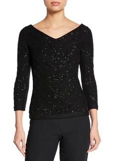 Carolina Herrera Sequined Pullover Knit Sweater